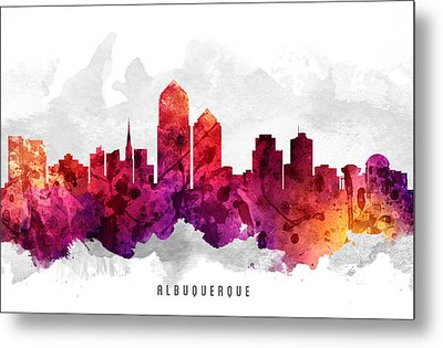 Albuquerque New Mexico Cityscape 14 Metal Print by Aged Pixel