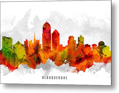 Albuquerque New Mexico Cityscape 15 Metal Print by Aged Pixel