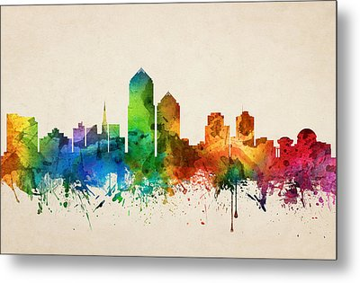 Albuquerque New Mexico Skyline 05 Metal Print by Aged Pixel