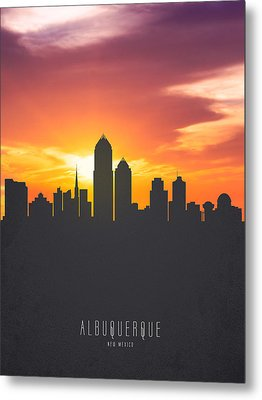 Albuquerque New Mexico Sunset Skyline 01 Metal Print by Aged Pixel