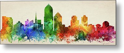 Albuquerque Skyline Panorama Usnma-pa03 Metal Print by Aged Pixel