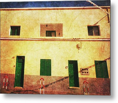 Metal Print featuring the photograph Alcala Yellow House With Green Doors by Anne Kotan