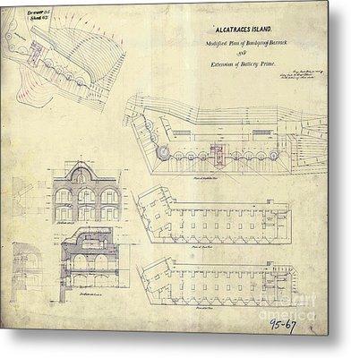Alcatraz  Bomb Proof Barracks Drawing 1865   Metal Print by Jon Neidert