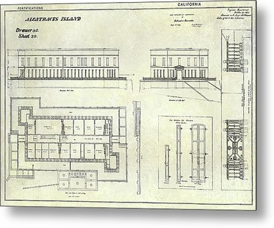Alcatraz Defensive Barracks Drawing 1859 Metal Print by Jon Neidert