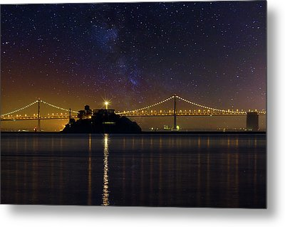 Alcatraz Island Under The Starry Night Sky Metal Print by David Gn