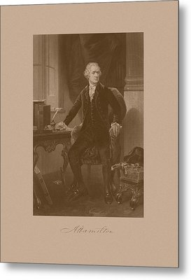 Alexander Hamilton Sitting At His Desk Metal Print by War Is Hell Store