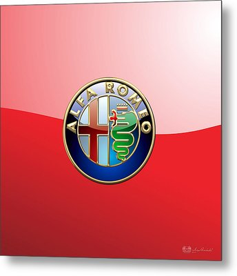 Alfa Romeo - 3d Badge On Red Metal Print by Serge Averbukh