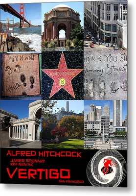 Alfred Hitchcock Jimmy Stewart Kim Novak Vertigo San Francisco 20150608 Text Black Metal Print by Wingsdomain Art and Photography