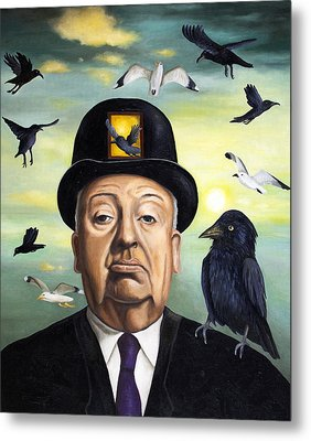 Alfred Hitchcock Metal Print by Leah Saulnier The Painting Maniac