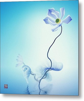 Algorithmic Art - Math Flowers In Blue 3 Metal Print by GuoJun Pan