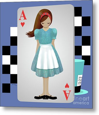 Alice 3d Flying Cards Metal Print by Audra Lemke