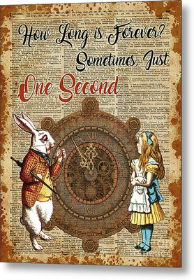 Alice And White Rabbit Vintage Dictionary Art Quote Metal Print