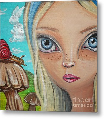 Alice Finds A Snail Metal Print by Jaz Higgins