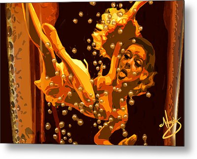 Alice In A Bottle Of Beer Metal Print by Moxxy Simmons