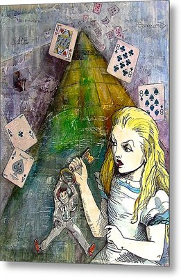 Alice In Bankland Metal Print by Christine Rossi