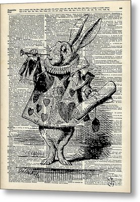 Alice In The Wonderland The Whitte Rabbit Metal Print by Jacob Kuch