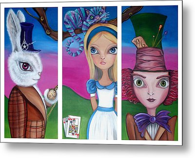 Alice In Wonderland Inspired Triptych Metal Print