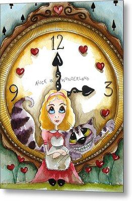 Alice In Wonderland Tick Tock Metal Print by Lucia Stewart