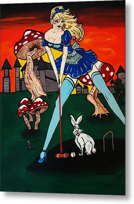 Alice's  In Wonderland Metal Print by Nora Shepley