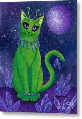 Metal Print featuring the painting Alien Cat by Carrie Hawks