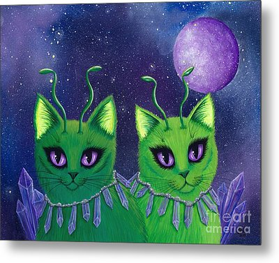 Metal Print featuring the painting Alien Cats by Carrie Hawks