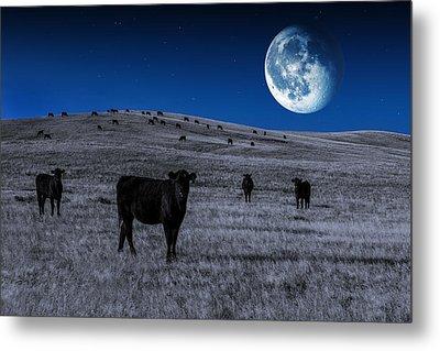 Alien Cows Metal Print