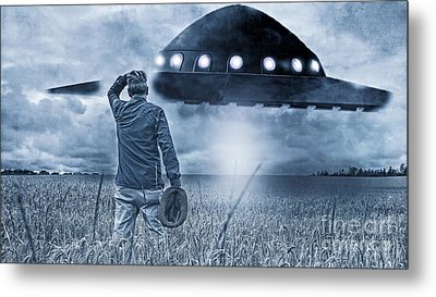 Alien Invasion Cyberpunk Version Metal Print by Edward Fielding
