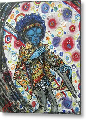 alien Jimi Hendrix Metal Print by Similar Alien
