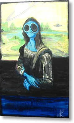 alien Mona Lisa Metal Print by Similar Alien