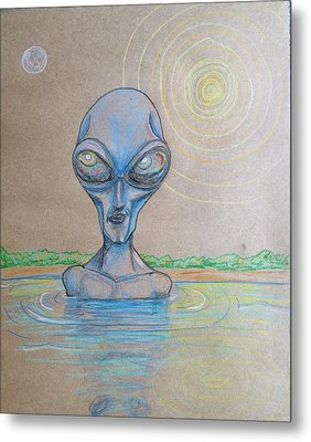Alien Submerged Metal Print by Similar Alien
