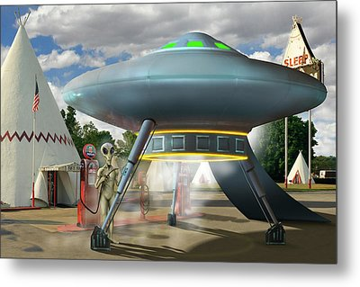 Alien Vacation - Gasoline Stop Metal Print by Mike McGlothlen