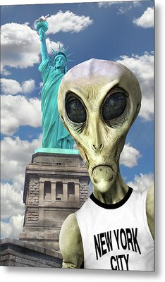 Alien Vacation - New York City 3 Metal Print by Mike McGlothlen