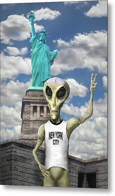 Alien Vacation - New York City Metal Print by Mike McGlothlen