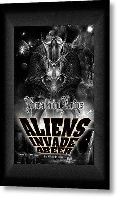 Aliens Invade 4 Beer Galaxy Attack Metal Print