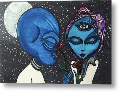 Aliens Love Flowers Metal Print by Similar Alien