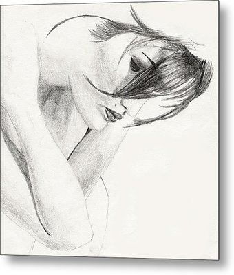 Metal Print featuring the drawing Alison by Michael McKenzie