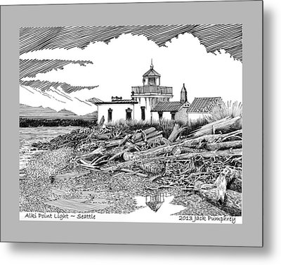 Alki Point Lighthouse Seattle Metal Print