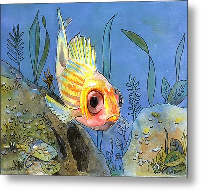 All Alone - Squirrel Fish Metal Print by Arline Wagner