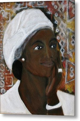 All Dressed In White Metal Print by Neena Alapatt