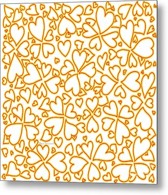 All Over Hearts Pattern Design Floral Fiesta I By Megan Duncanson Metal Print by Megan Duncanson