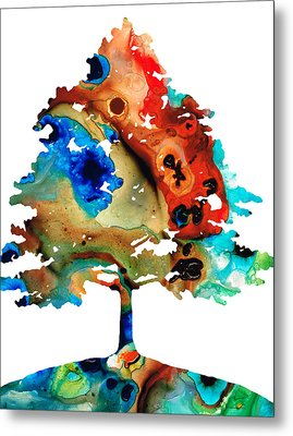 All Seasons Tree 3 - Colorful Landscape Print Metal Print by Sharon Cummings
