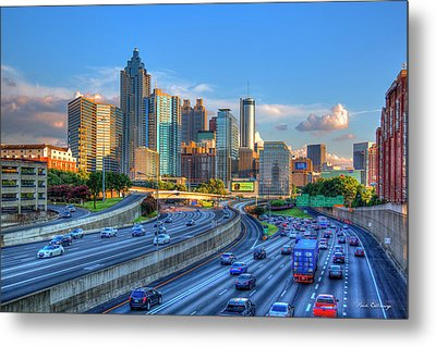 Metal Print featuring the photograph Almost Sunset Atlanta Downtown Cityscape Art by Reid Callaway