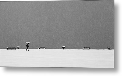 Alone In Snowstorm Metal Print by Eric Monvoisin