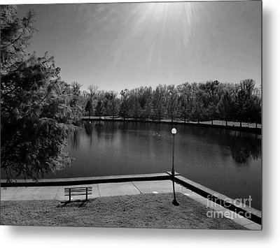 Alone Now In Thought - Black And White Metal Print by Scott D Van Osdol