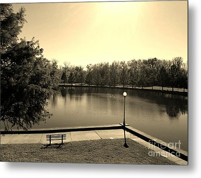 Alone Now In Thought - Sepia Metal Print by Scott D Van Osdol