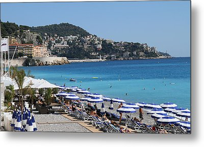 Metal Print featuring the painting Along The Beach In Nice Looking Over Toward Monaco by Rod Jellison