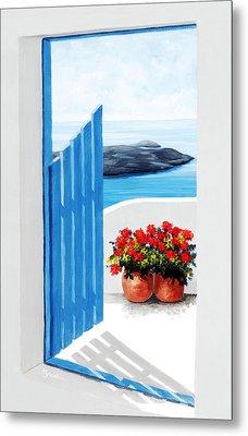 Santorini, Along The Way, Prints Of Original Oil Painting Metal Print