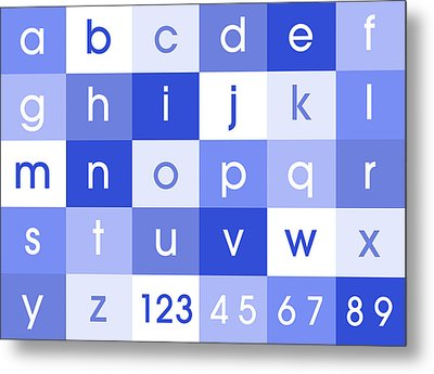 Alphabet Blue Metal Print by Michael Tompsett