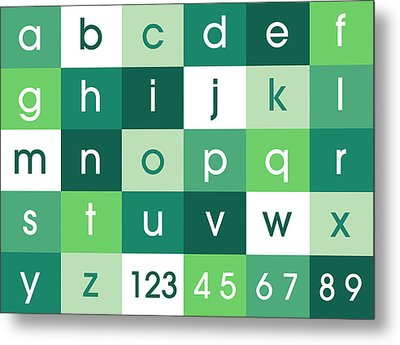 Alphabet Green Metal Print