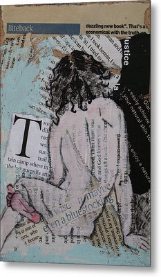 Alphabet Nude T Metal Print by Joanne Claxton
